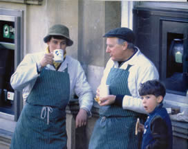 Paul Brian and Chris Hart at Frome market 1990